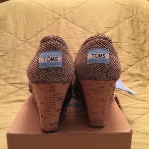 Toms Shoes - Toms brown metallic herringbone, cork wedge shoes